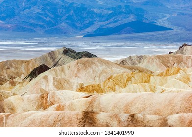 Textures and erosion of famous Zabriskie Point, Death Valley national park, California, USA