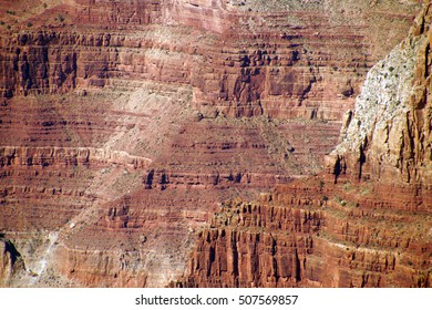 Textures of steep sandstone cliffs along the Rim Trail South Rim, Grand Canyon National Park, Arizona