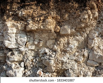 Textures of various layers of soil in the quarry after geological study of the soil. colored layers of clay and stone in the section of the earth, various rock formations and soil layers.
