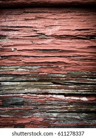 Textures wood and pealing red paint