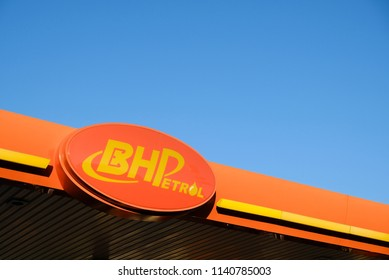 Tg. Malim, Perak, Malaysia, July 22, 2018 : BHP Petrol is one of the leading oil and gas company in Malaysia. Picture of and orange petrol pump over nice blie sky.