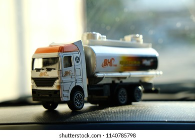 Tg. Malim, Perak, Malaysia, July 22, 2018 : BHP Petrol is one of the leading oil and gas company in Malaysia. Picture of a perfume case with a form of BHP oil / petroleum tanker.