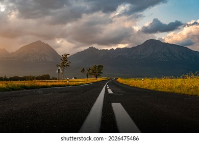Th road leading to the Slovak mountains. - Shutterstock ID 2026475486