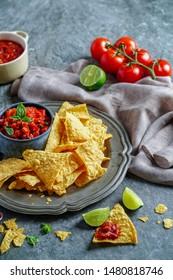 Tha Kham, Bangkok September 15, 2018 Mexican food Nato main salsa sauce with crispy tomato paste, sweet pepper, chill sauce, paprika powder, pepper, salt, vegetable oil, lemon Juice, oregano mixed