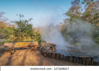 Tha Pai Hot Spring, Pai District, Mae Hong Son, Thailand with Thai Text means this local is Pong Nam Ron Tha Pai and temperature of water about 80 degrees Celsius.