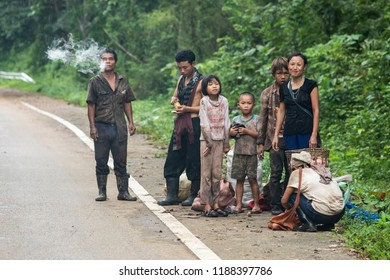 Tha Song Yang, Tak, Thailand - September 08, 2018 : Unidentified Karen tribal wide range of ages getting rest together on later back from harvest Konjac in the forest at Tha Song Yang, Tak, Thailand.