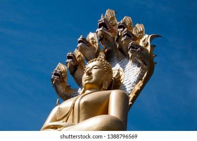 Tha Ton Thailand, close-up of giant buddha seated under seven headed naga at Wat Tha Ton