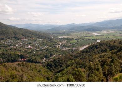 Tha Ton Thailand, view from Wat Tha Ton over the village of Tha Ton and the Kok River