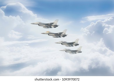 Thai Air Force is flying over the clouds.