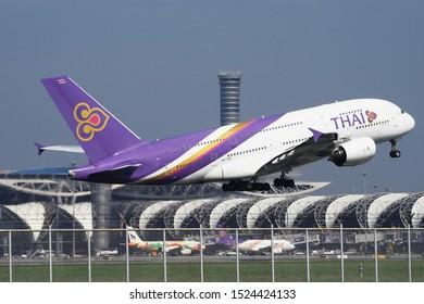 Thai Airways Airbus A380-800 Reg.HS-TUE passing the tower at Bangkok Suvarnabhumi Airport, Thailand on 29 September 2019