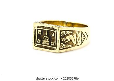 Thai amulet ring on background