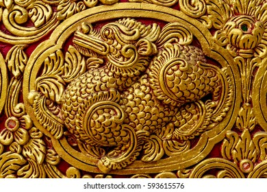 Thai ancient gold concrete stucco in temple