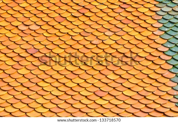 Thai ancient Temple roof background