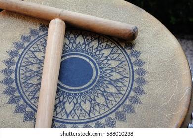 Thai ancient vintage classic wooden drum (closeup macro)