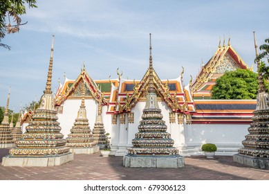 Thai architecture in Wat Pho public temple in Bangkok, Thailand