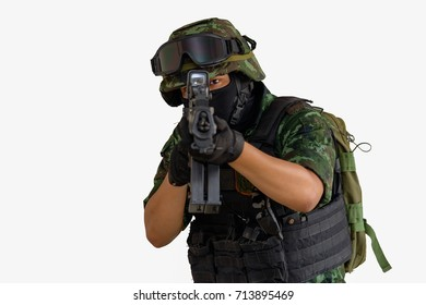 Thai army special militia hands holding rifle and full uniform isolated on white background.