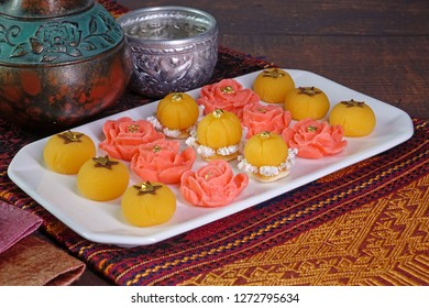 Thai auspicious food / Royal Thai cuisine : Five mixed Thai Golden sweetmeat (Sa Ne Jan, DaraThong, Thong Chompoo Nuch, Thong Ek and Thong Nopphakhun) , Famous Thai auspicious desserts. Copy space.
