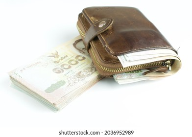 Thai baht bank note with wallet.Personal finance concept.Personal loan concept.