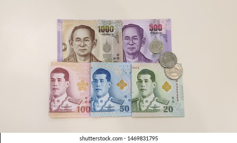 Thai baht banknotes and coins. Thai baht money.