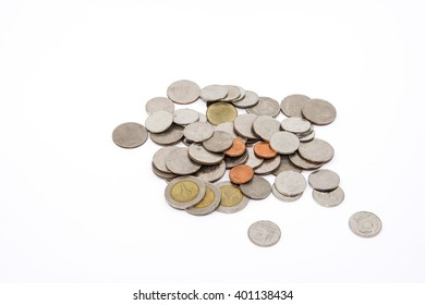 Thai baht coin money on white background.