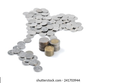 Thai Baht Coin in Thailand Map Shape with Stack of 2, 5 and 10 Baht Coin on white background