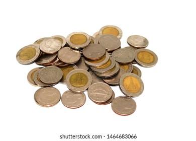 thai baht coins, five baht and ten baht, one set as one hundred baht
