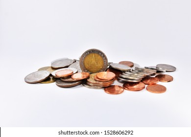 Thai baht Coins on white background concept Money finance business currency coin isolated investment