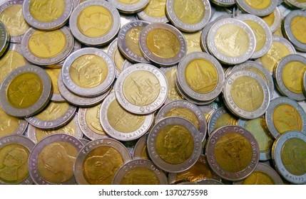 Thai baht currency background. Thai ten baht background.