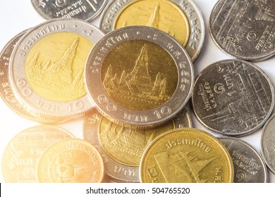 Thai baht money or Money thai coins staircase sorted on isolate. King of Thailand. The concept of financial planning, savings, Business successful