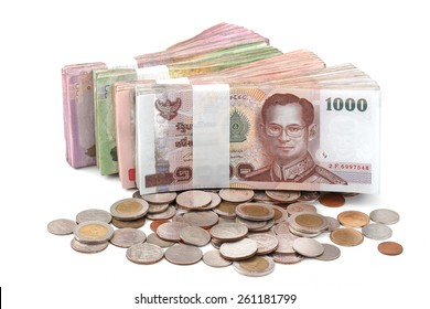 Thai baht money isolated white background