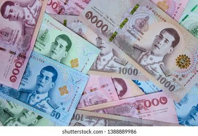 Thai baht money of Thailand banknote close up