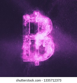 Thai Baht sign, Thailand baht symbol. Monetary currency symbol. Abstract night sky background.
