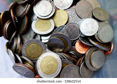 Thai Baht silver and gold coins.