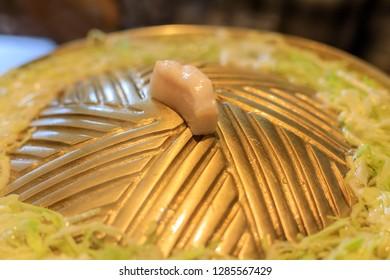 Thai barbecue buffet pig pan or Thai BBQ buffet close-up, Asian Style.