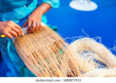 Thai basket handmade in countryside.
