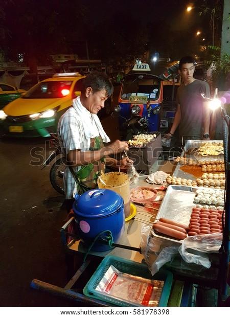 Thai BBQ street food, Bangkok Thailand February 2017