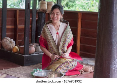 Thai beautiful women dressed in Thai Lanna costumes, happy free woman
