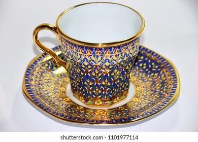 Thai benjarong cup set - Traditional thai ceramics porcelain hand paint