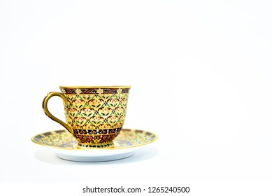 Thai Benjarong porcelain, coffee cup, isolated on white background.