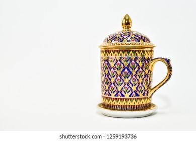Thai Benjarong porcelain isolated on white background.