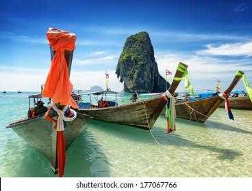 Thai boats on Phra Nang beach, Thailand.