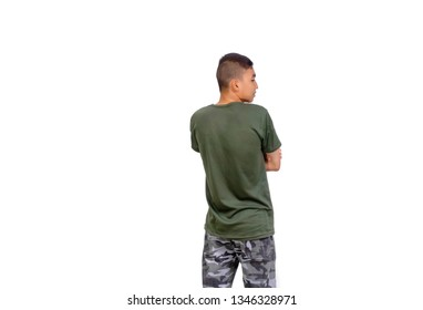 The Thai boy in olive green t-shirt turn back