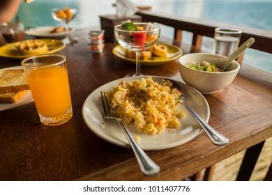 thai breakfast on the table wood