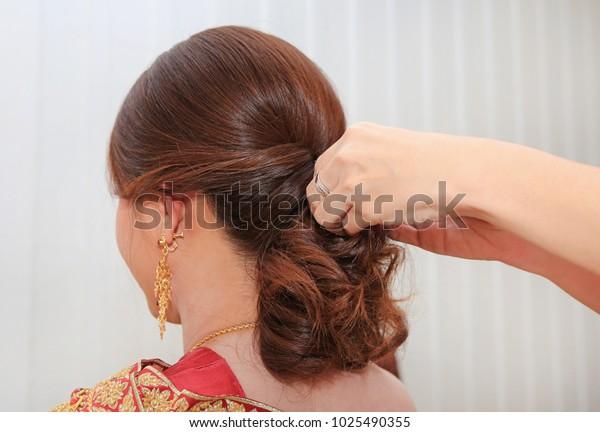 Thai Bridal Wedding Hairstyle Stock Photo Edit Now 1025490355