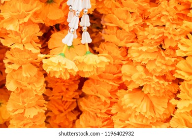 Thai calendula craft garland handmade,yellow background
