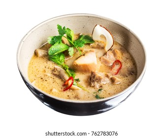 Thai Chicken Coconut Soup isolated on white background