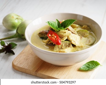 Thai chicken green curry, creamy soup, with eggplant