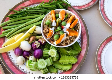 Thai Chili paste, NAM PRIK LUNG REI in the tray, buffet food for wedding guest. Asian hot and herb food. traditional cuisine. traditional gourmet. image for object, article and menu list.