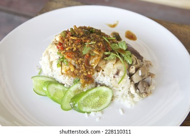 Thai and Chinese style food Steamed Chicken over Rice.