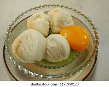 Thai Coconut ice cream with egg yolk , Phitsanulok Province, Thailand